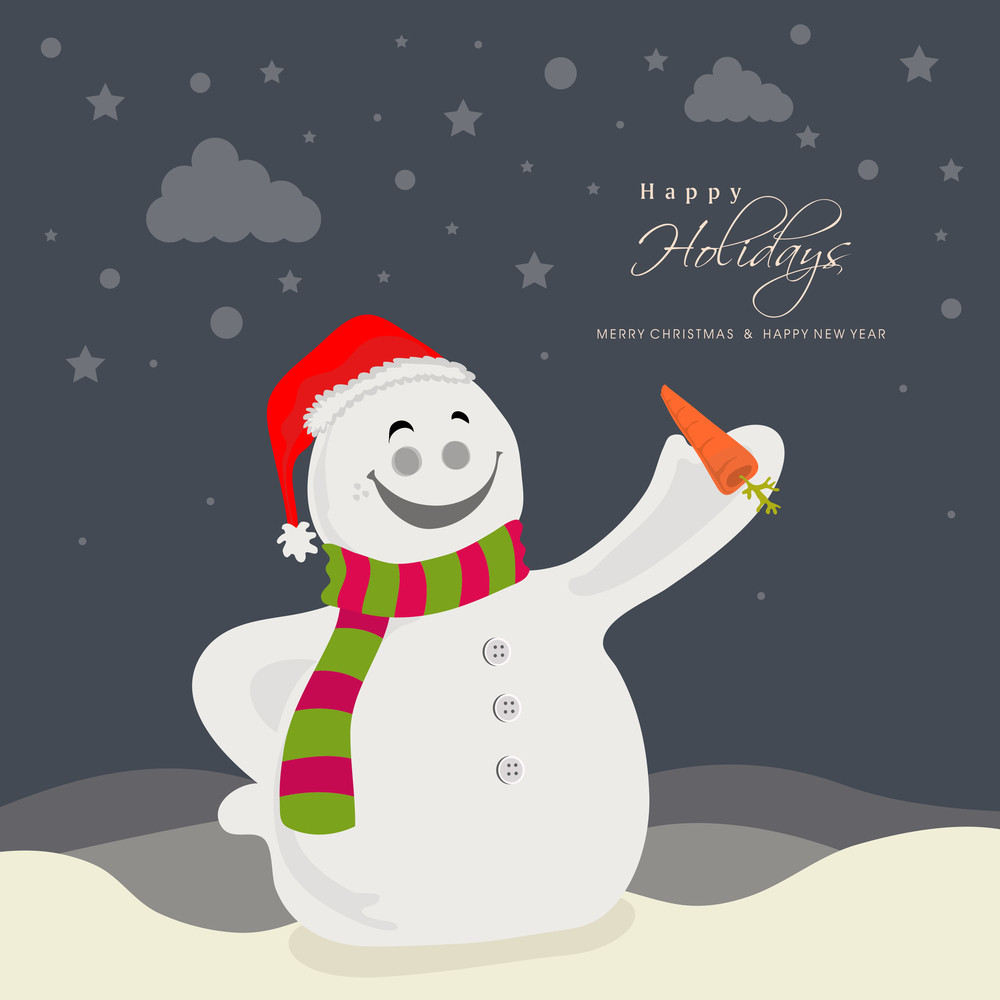 Cute smiling Snowman in Santa cap holding a carrot on winter background for Merry Christmas and Happy New Year celebration.