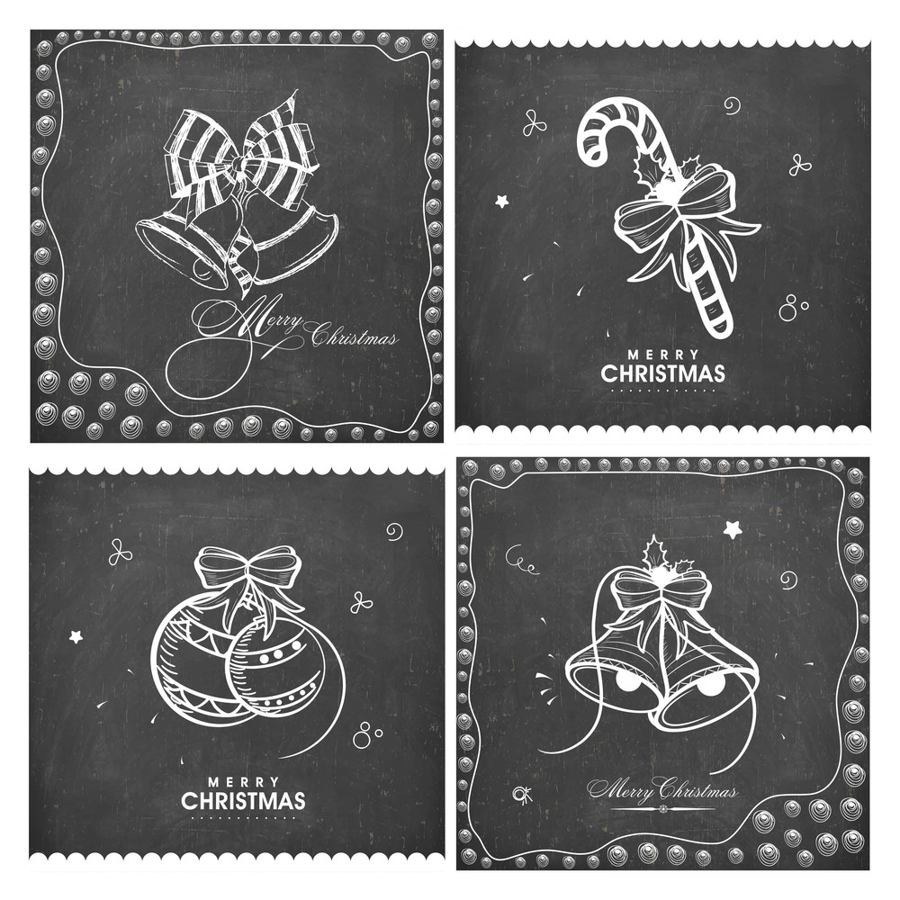 Set Of Creative Greeting Cards Decorated With Ornaments On