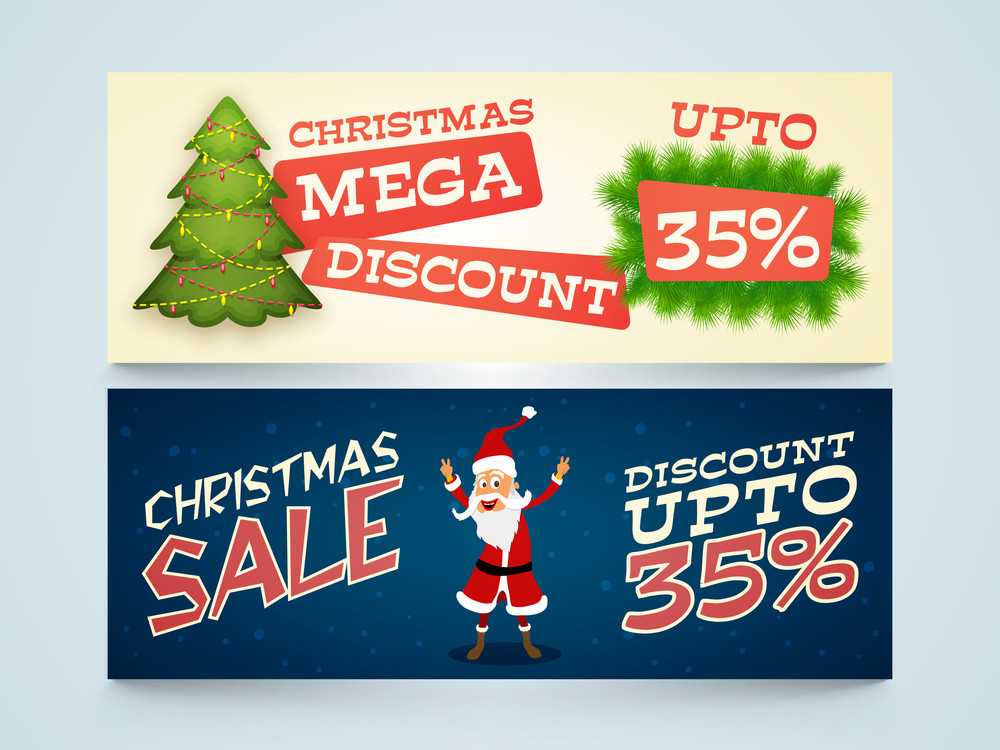 Creative Sale website header or banner set with Mega Discount offer for Merry Christmas celebration.
