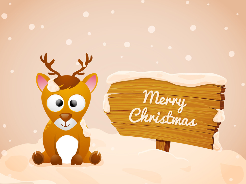 Christmas Backgrounds Cute.Cute Reindeer Sitting On Glossy Winter Background For Merry