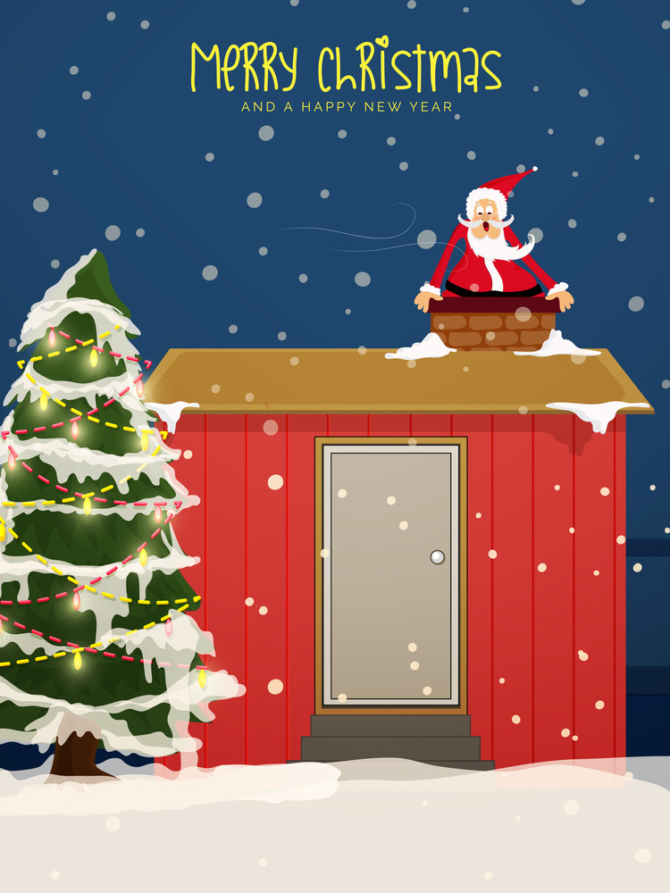 Cute Santa Claus Going Into Home By Chimney With Creative Xmas Tree On Winter Background For Merry Christmas And Happy New Year Celebration