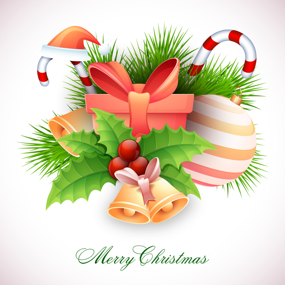 Elegant greeting card design with creative glossy ornaments for Merry Christmas celebration.