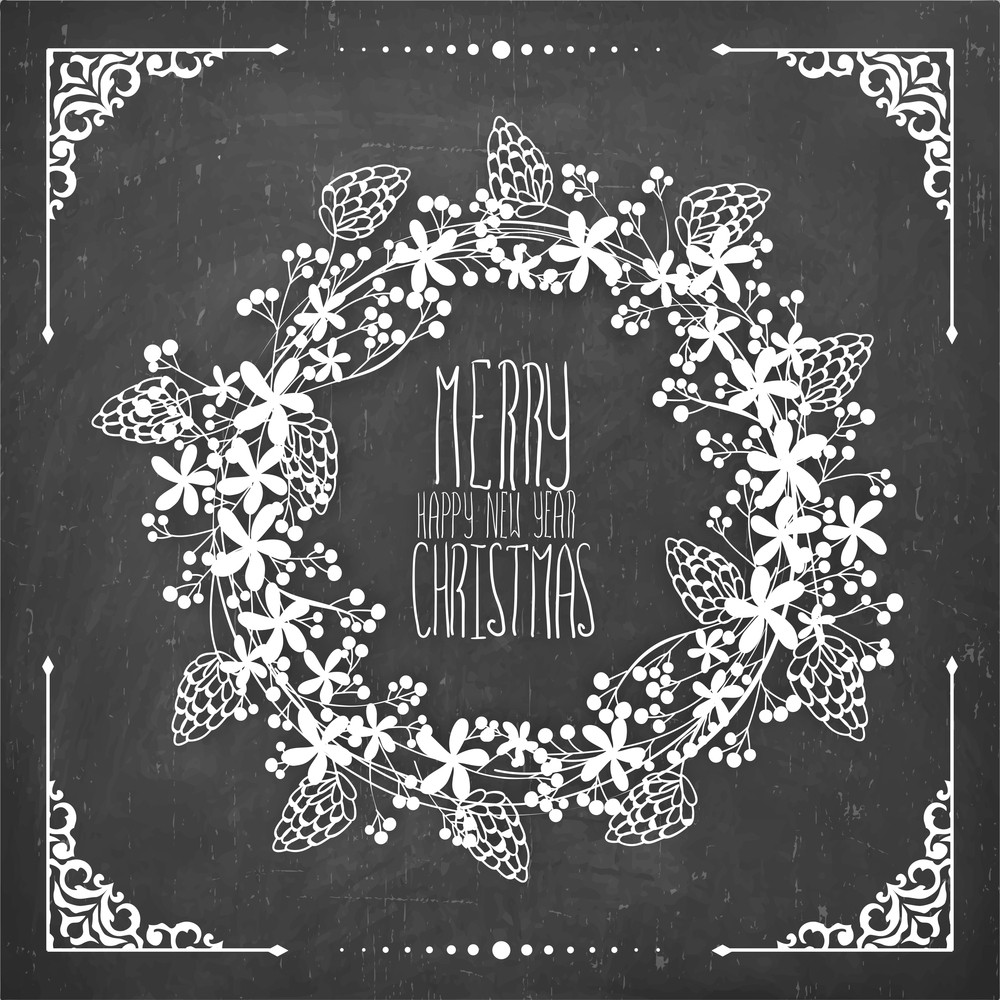beautiful floral design decorated greeting card on chalkboard background for merry christmas and happy new year celebration