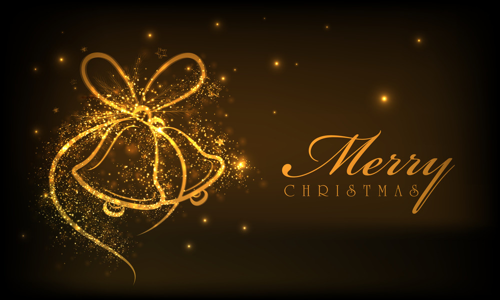 Shiny golden jingle bells and stylish text of Merry Christmas on brown background.