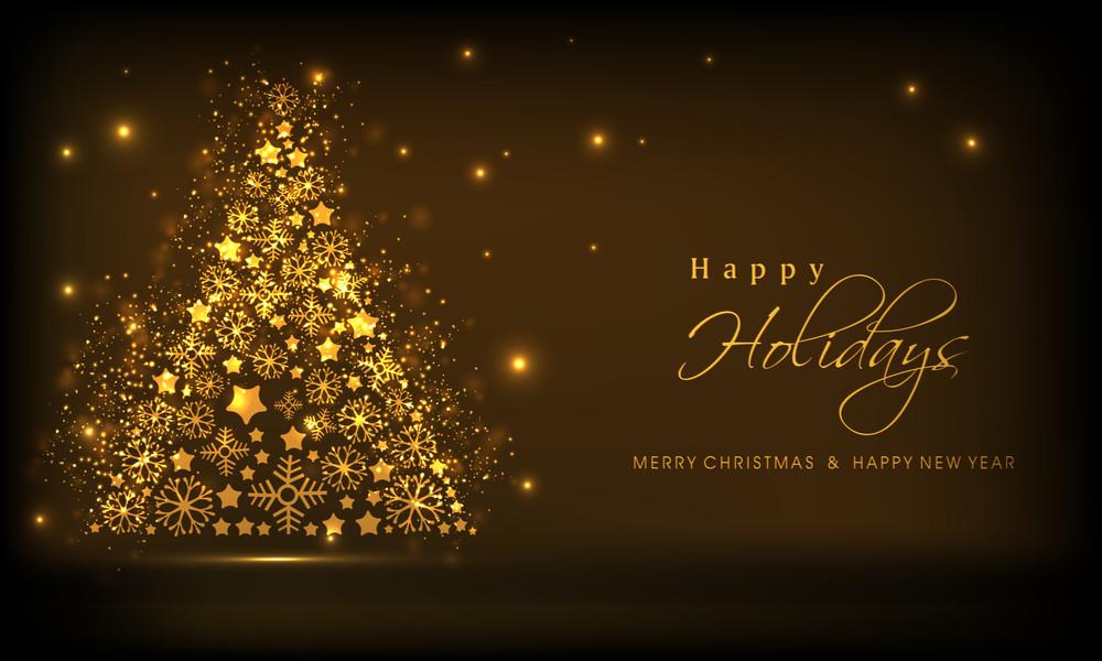 Shiny golden christmas tree and stylish text of Happy Holidays