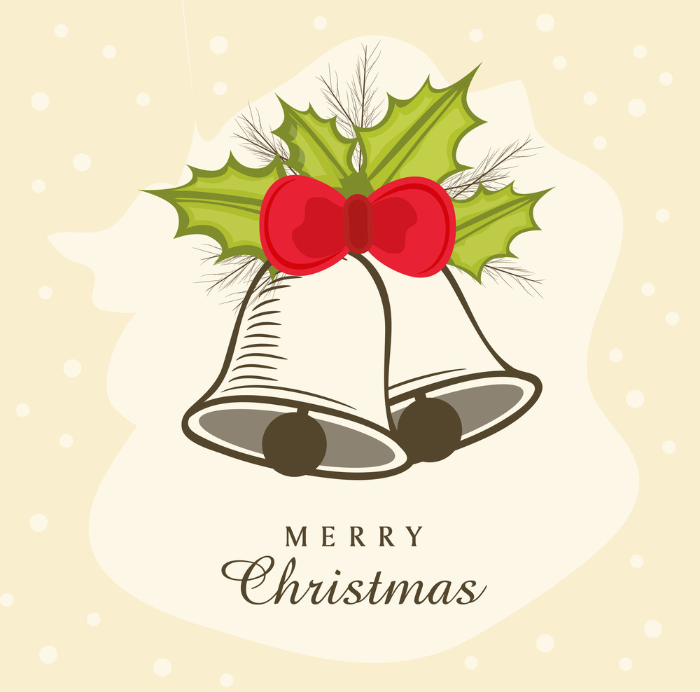 Beautiful poster or banner with jingle bells binded by ribbon and stylish text of Merry Christmas.