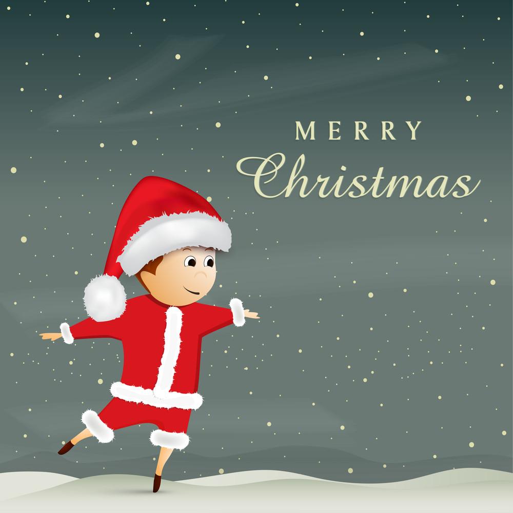 Plakat Frohe Weihnachten mit einem Jungen im Sankt-Kleid und stilvolle Text mit Schneeflocken.