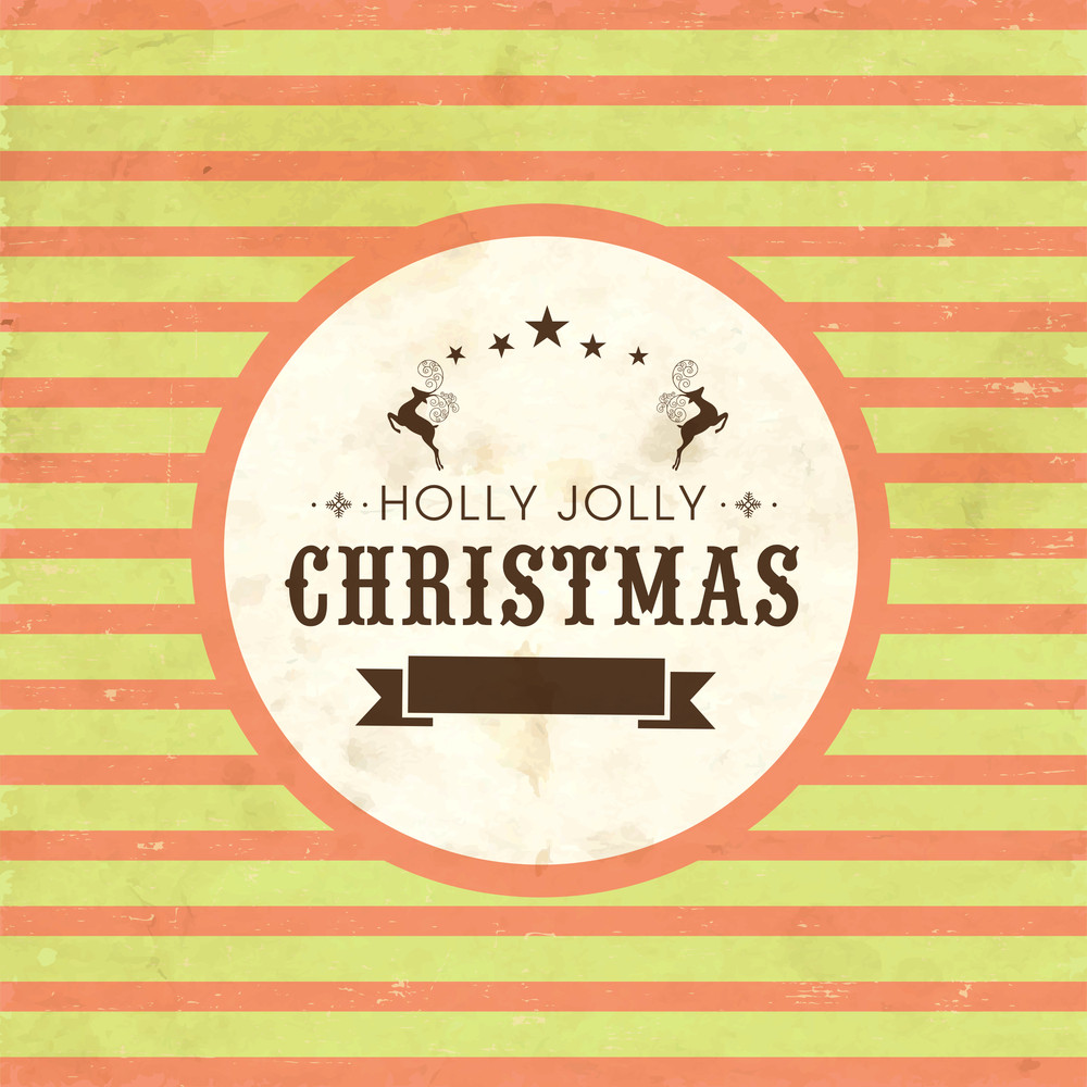 Retro poster for Christmas with text Holly Jolly on linen background.
