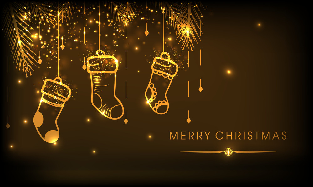Christmas festival celebration with shiny golden hanging stockings and stylish wishing text on brown background.