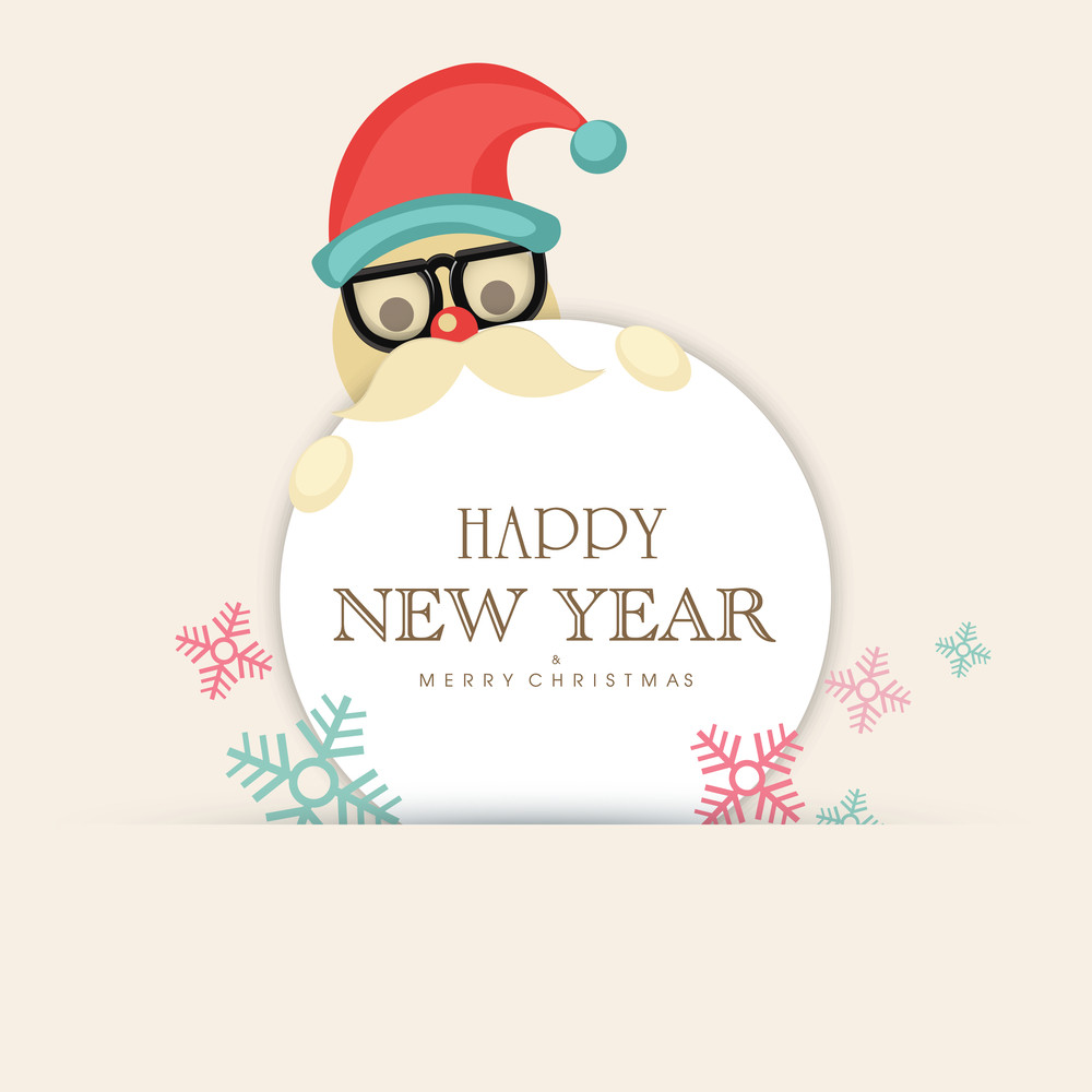 Colorful snowflakes decorated greeting card design with cute Santa Claus for Happy New Year and Merry Christmas celebration.