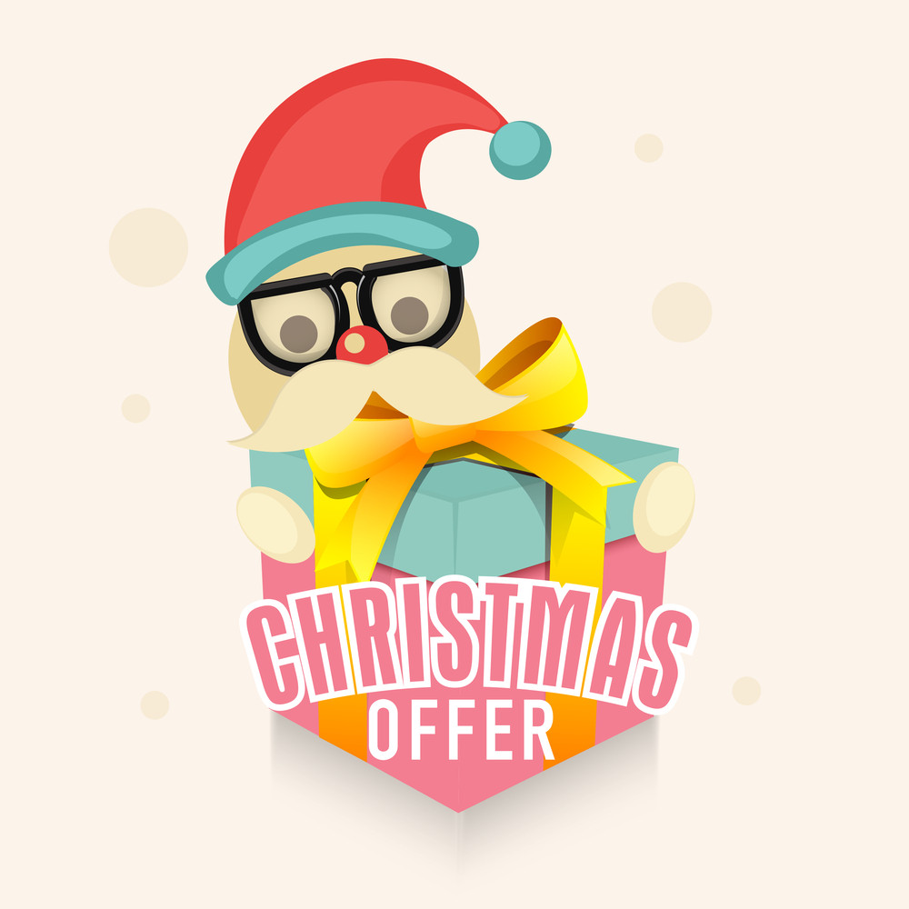 Cute Santa Claus holding glossy gift for Christmas Sale Offer.