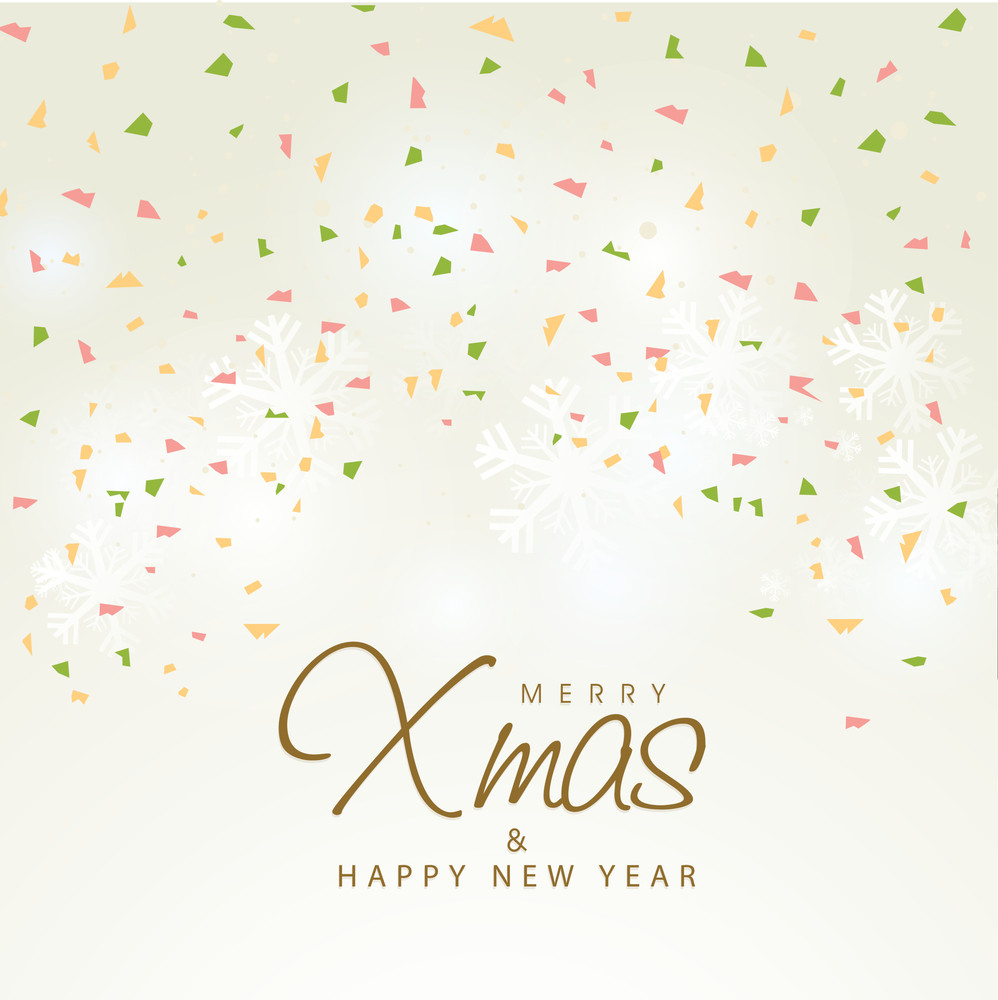 Colorful confetti decorated beautiful greeting card design for Merry Christmas and Happy New Year celebration.