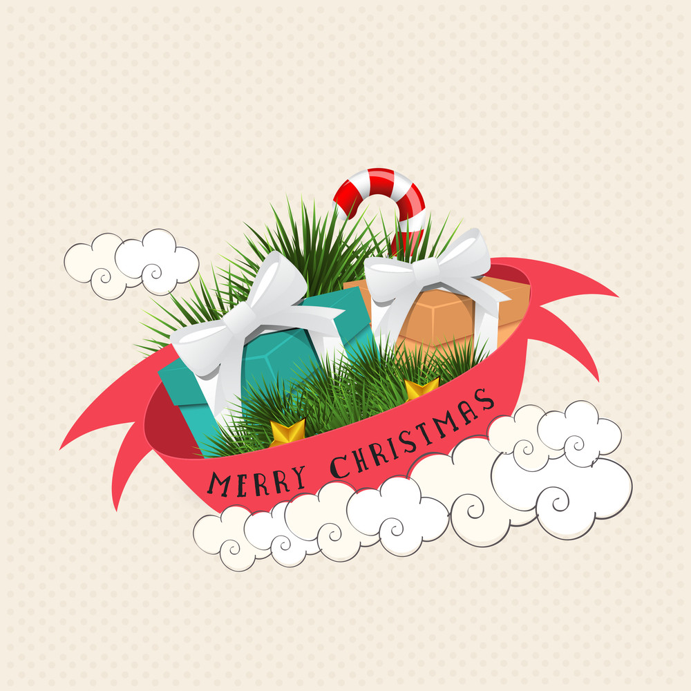 Colorful glossy ornaments decorated greeting card with ribbon for Merry Christmas celebration.