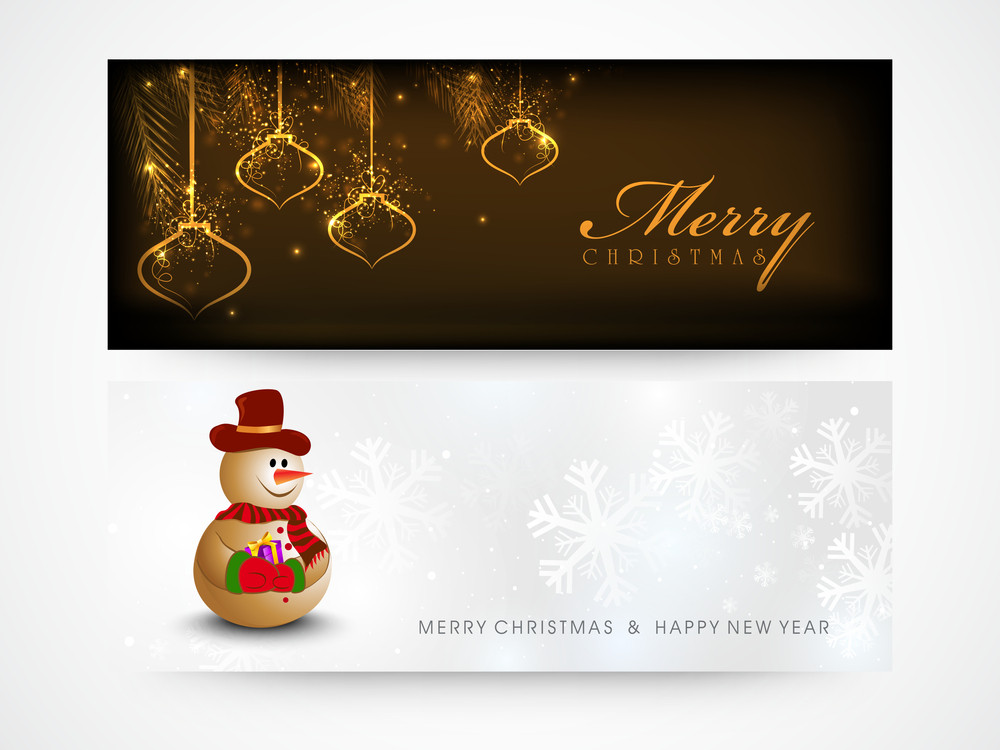 Elegant shiny website header or banner set with cute Snowman and ...