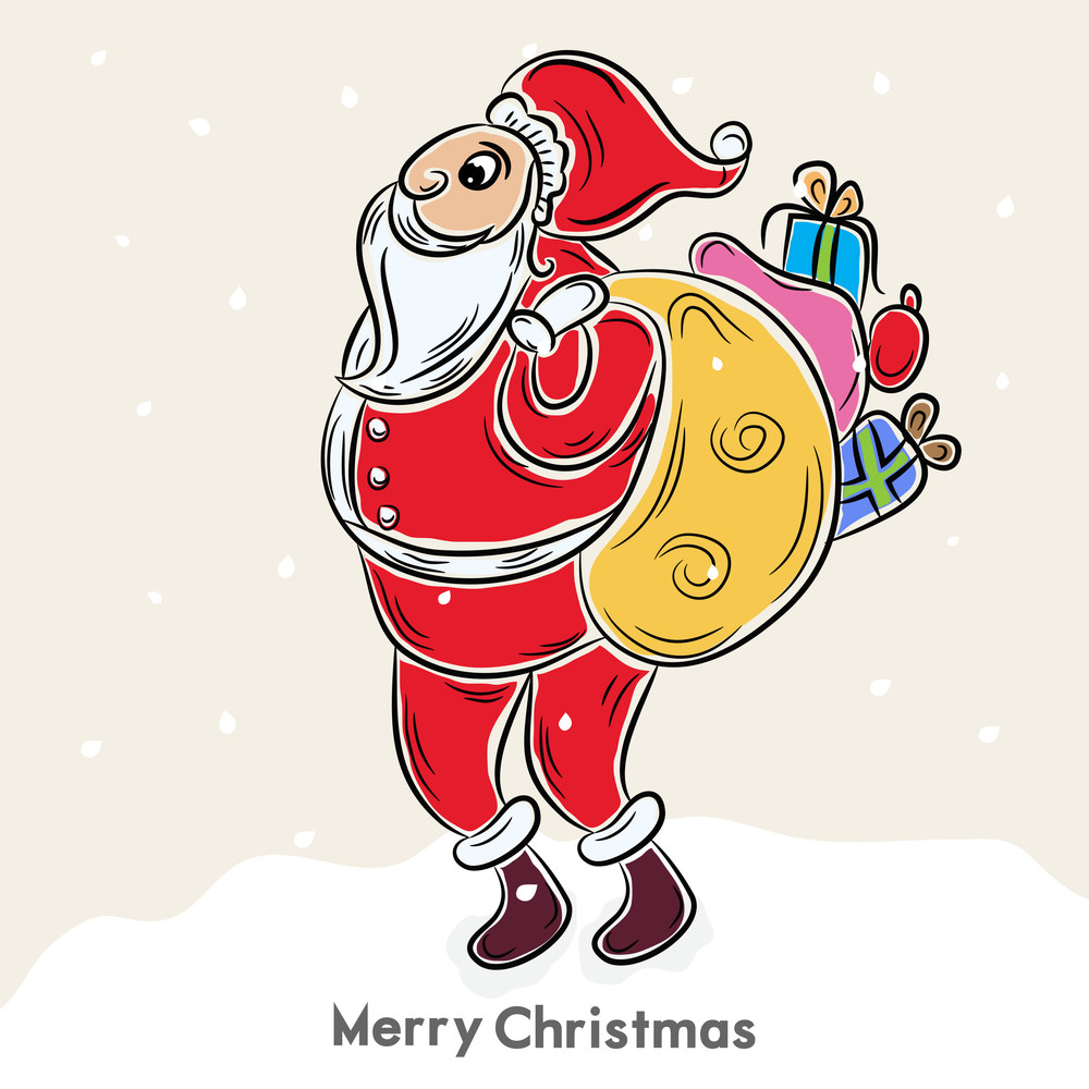 Cute Santa holding a gift sack for Merry Christmas celebration on beige background.