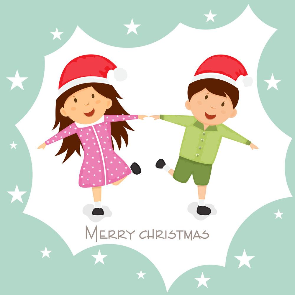 Little cute kids in Santa cap for Merry Christmas celebration on ...