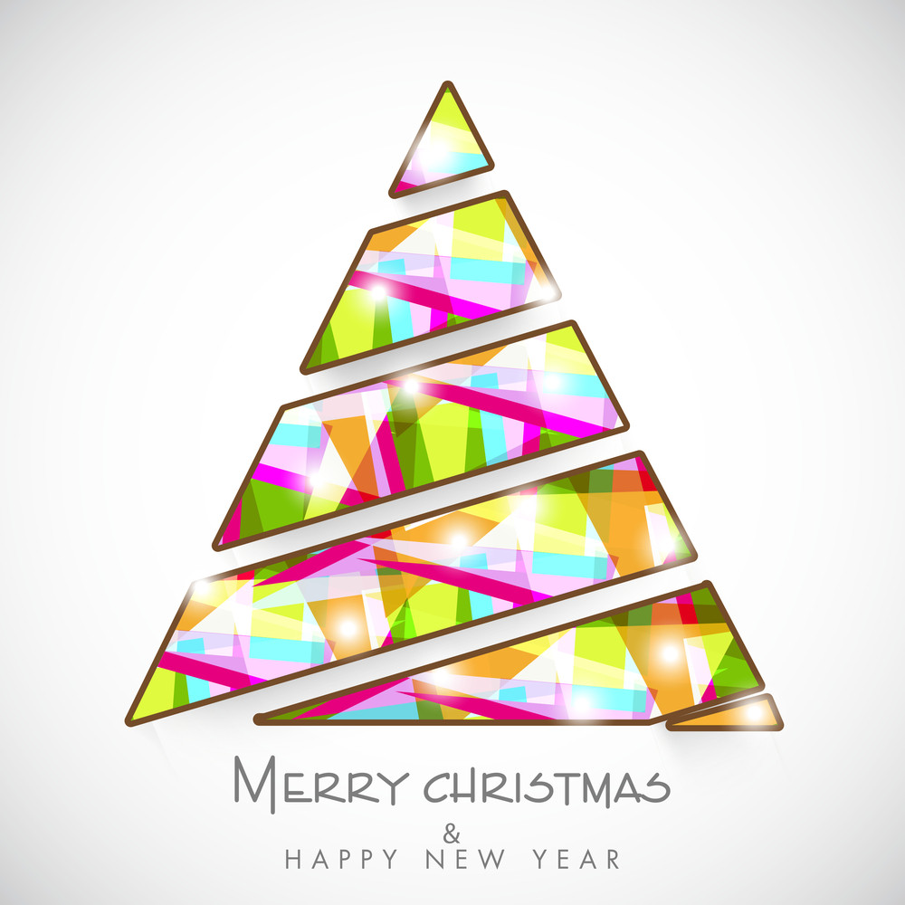 Creative colorful Xmas tree design for Merry Christmas and Happy New Year celebration on grey background.