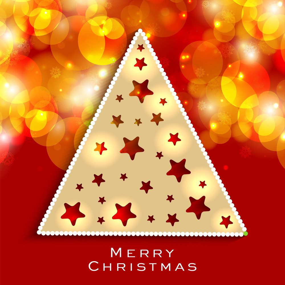 Merry Christmas celebration concept with Xmas tree design on abstract orange background.