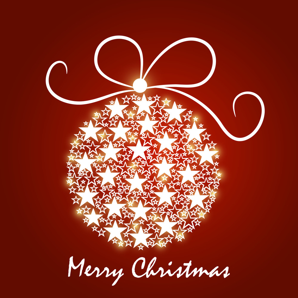 Shiny Xmas ball made by stars for Merry Christmas celebration on red background