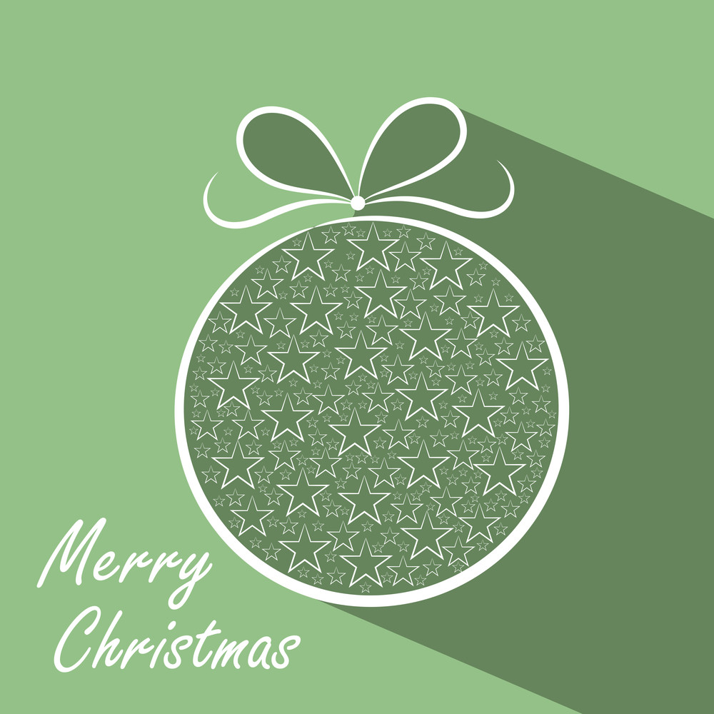 Stars decorated Xmas ball for Merry Christmas celebration on green background.