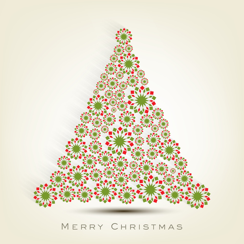 Merry Christmas celebration concept with snowflake decorated Xmas tree on beige background.