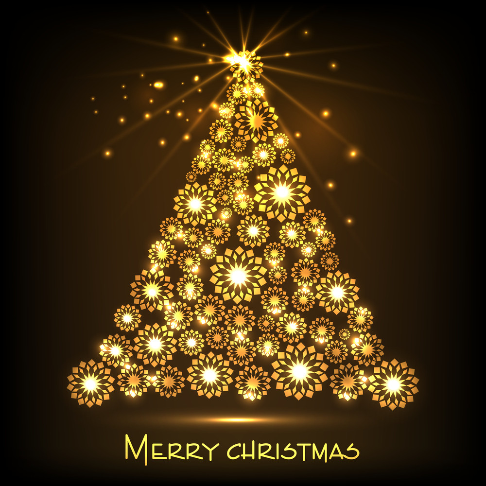 Merry Christmas celebration with shiny golden Xmas tree decorated by snowflake on brown background.