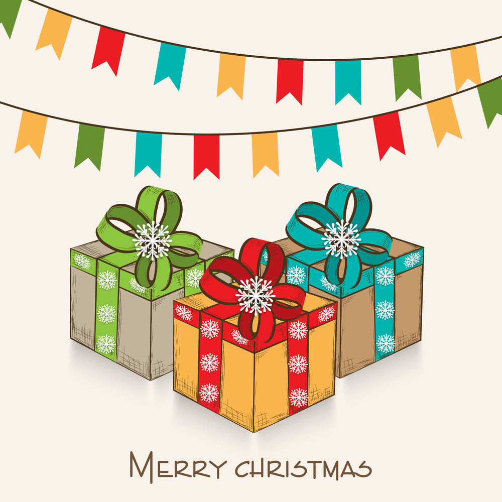 Merry Christmas celebration with gifts box and party flag on beige background.