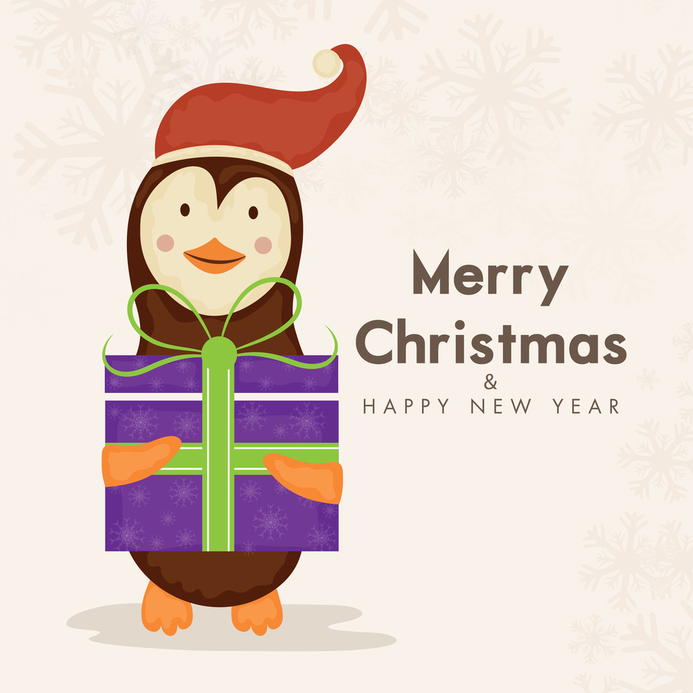 Cartoon of penguin holding gift box for Merry Christmas and Happy New Year celebration concept on snowflake decorated background.