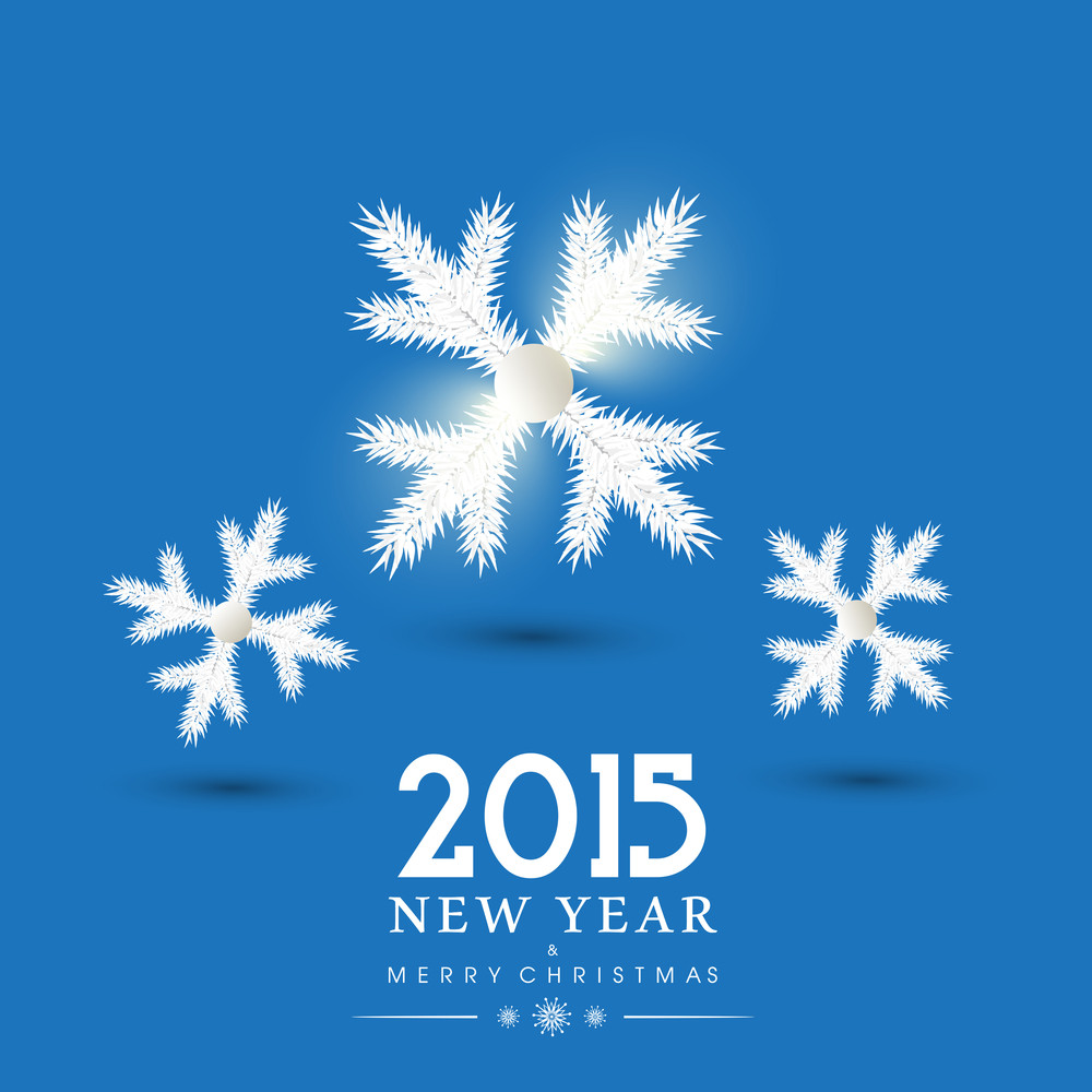 New Year and Merry Christmas 2015 celebration concept with with snowflakes on blue background.