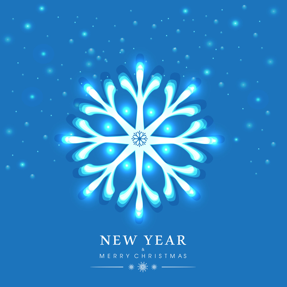 New Year and Merry Christmas celebration with stylish snowflake on blue background.