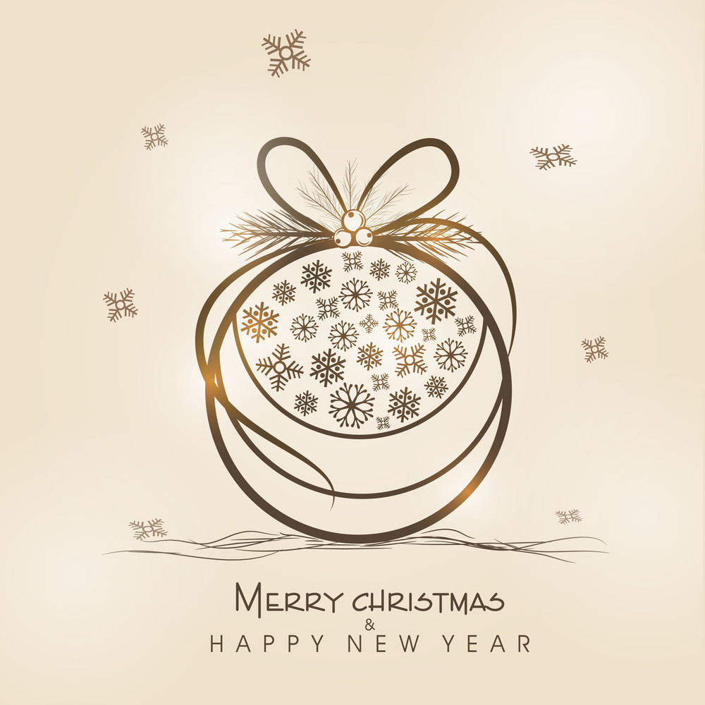 Beautiful christmas ball decorated by snowflake for Merry Christmas and Happy New Year celebration.