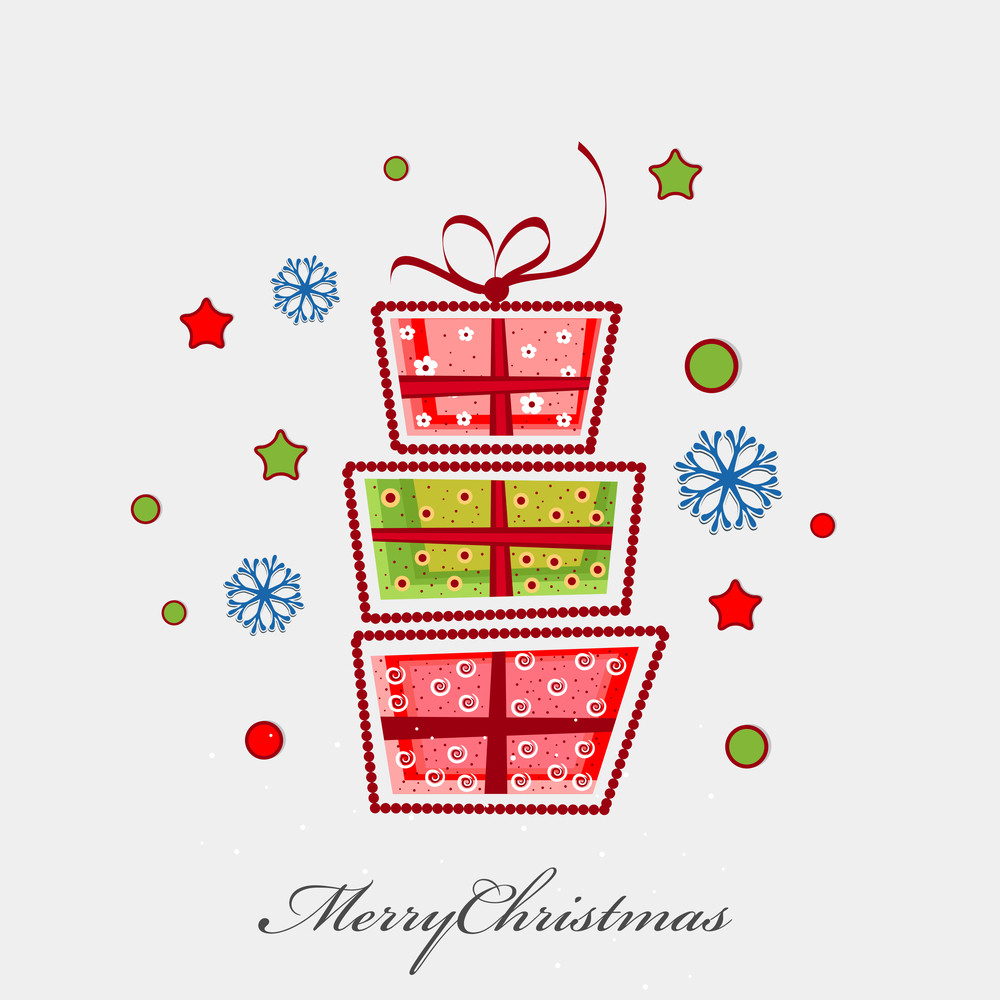 Greeting card or invitation card of Merry Christmas celebration with colorful gift boxes on beige background.