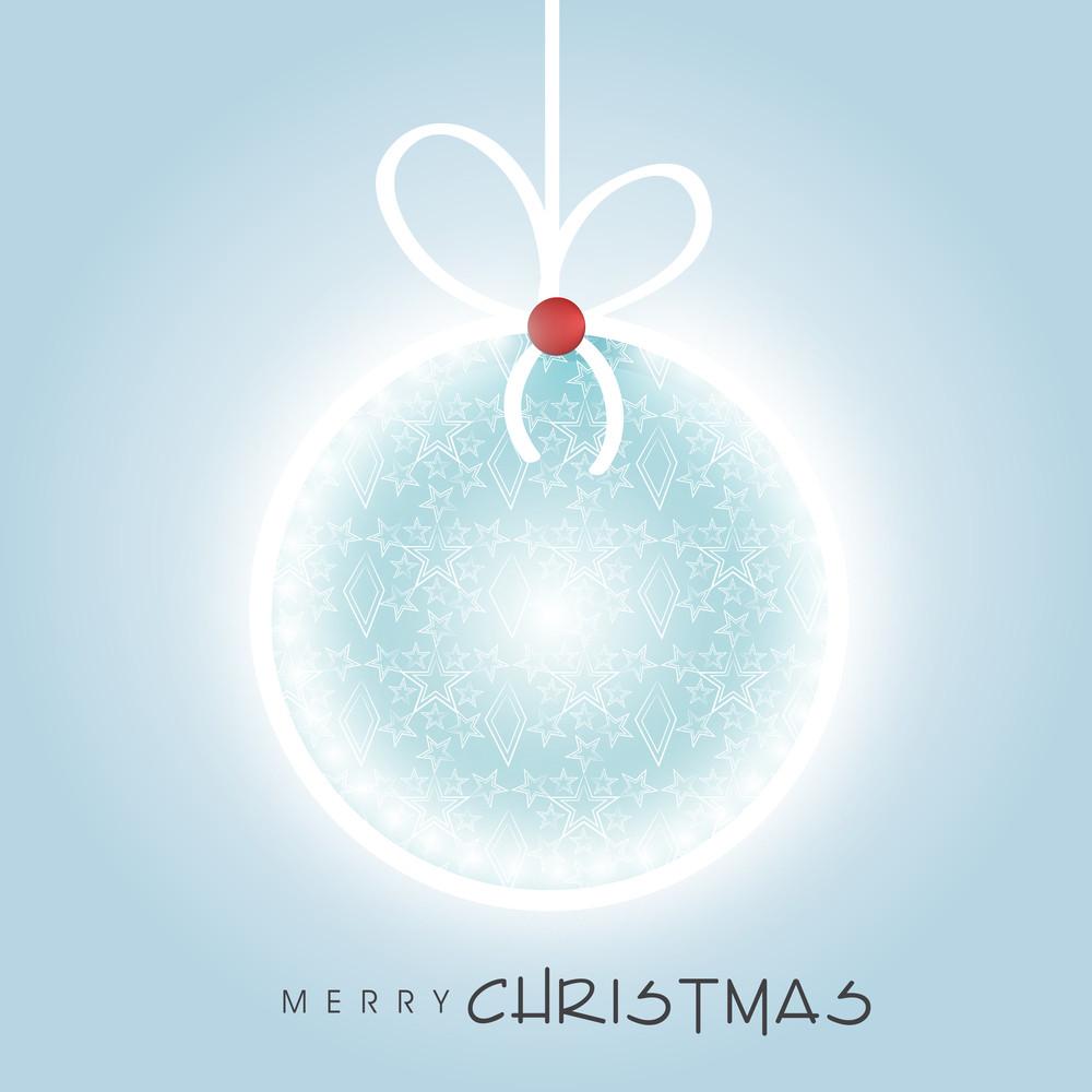 Beautiful hanging christmas ball for Merry Christmas celebration on stylish blue background
