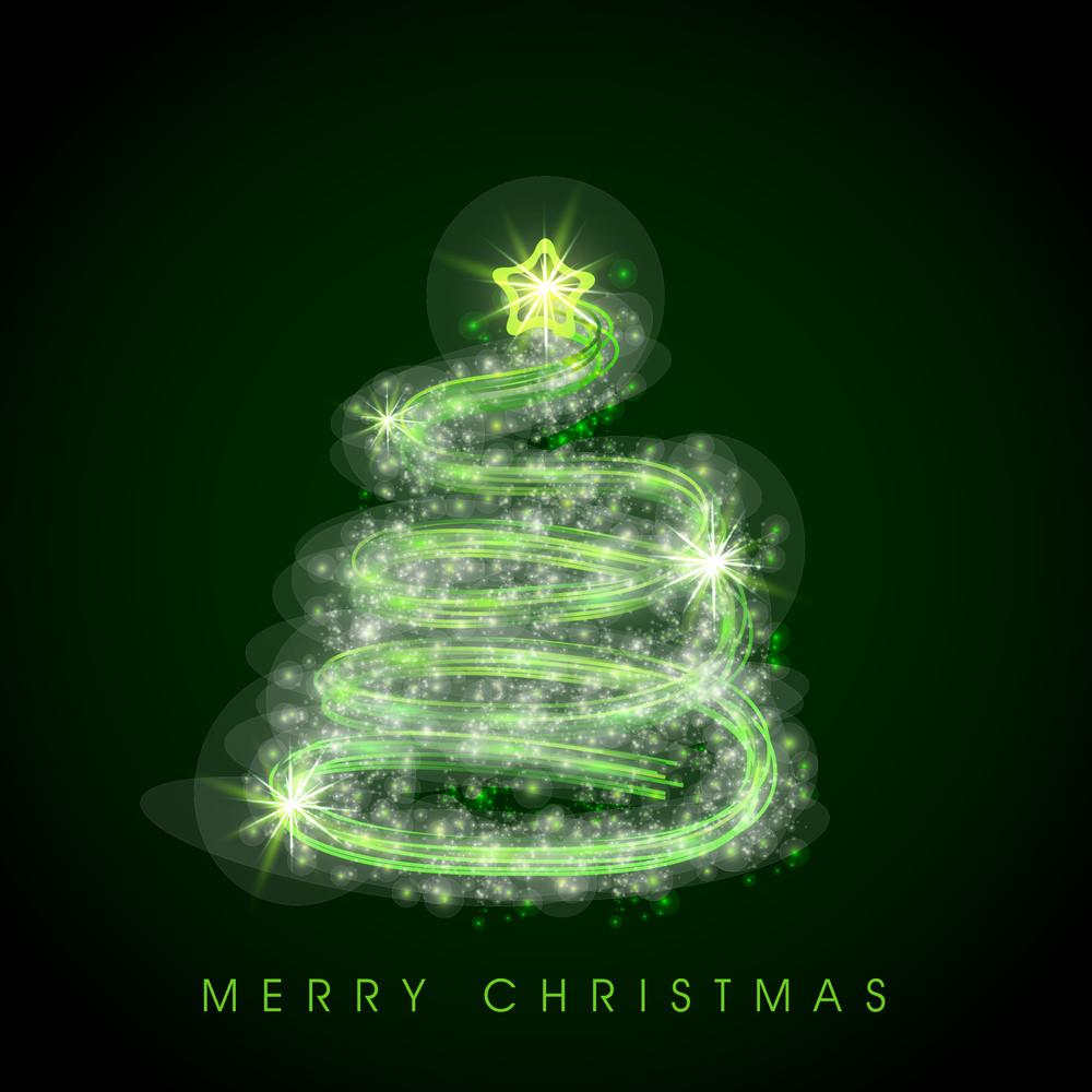 Shiny stylish green Xmas tree design for Merry Christmas celebration on green background.