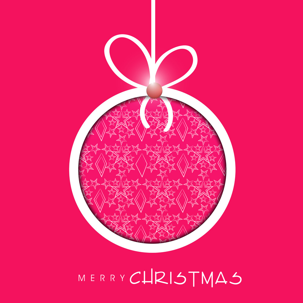 Beautiful floral decorated Xmas ball for Merry Christmas celebration on pink background.