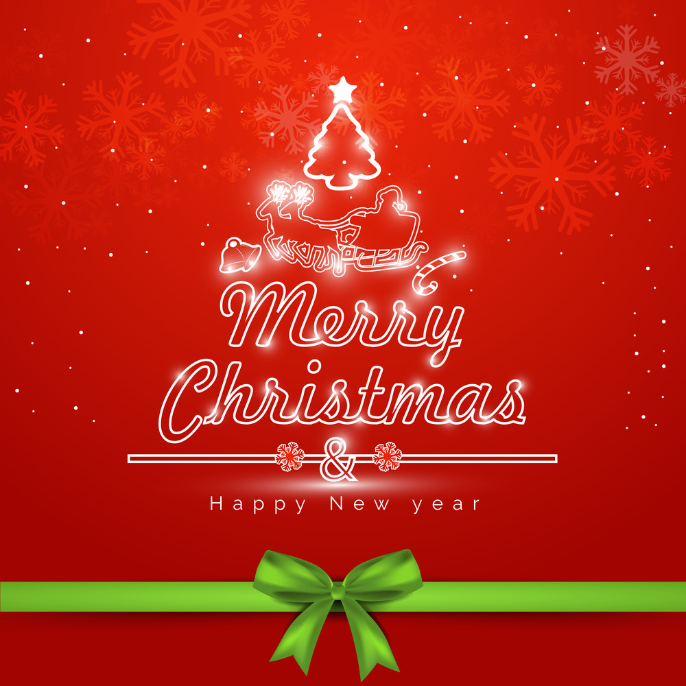 Merry Christmas celebration greeting card or invitation card with green ribbon on snowflake decorated red background.