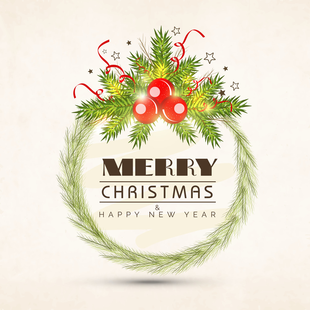 Merry Christmas and Happy New Year celebration with stylish text on rounded frame decorated by firtree