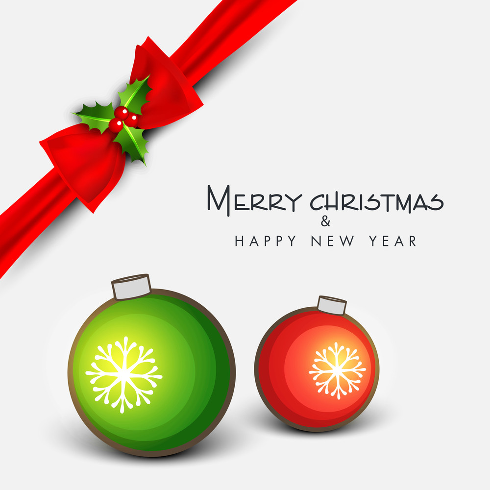Merry Christmas and Happy New Year celebration greeting card with ribbon and Xmas ball on grey background.