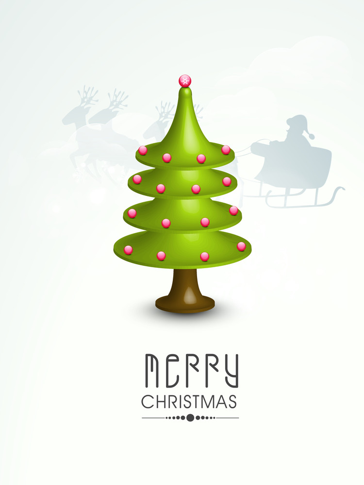 Merry Christmas celebration greeting card or invitation card with Xmas tree on winter background.