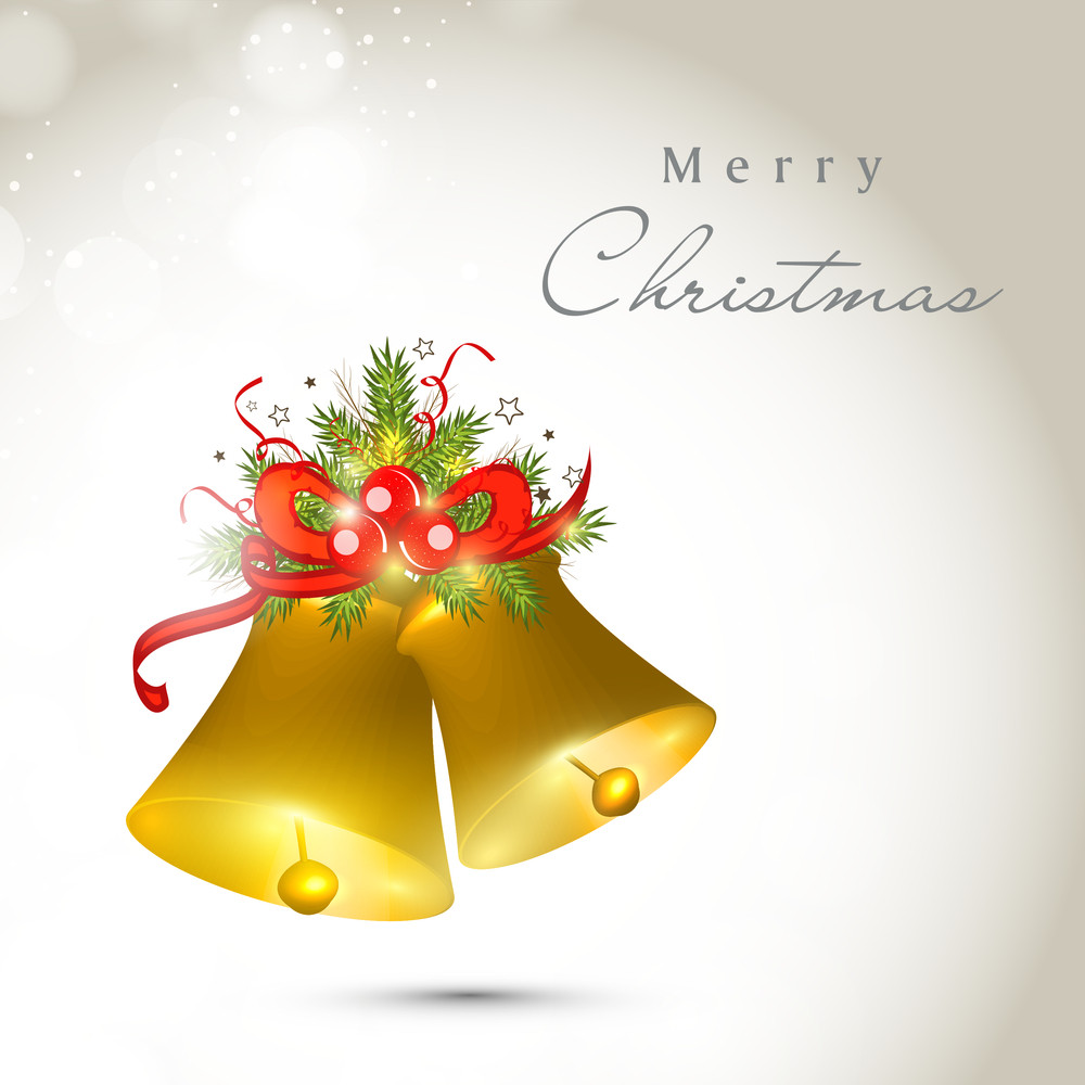 Greeting card or invitation card for Merry Christmas celebration concept with golden shiny jingle bells.