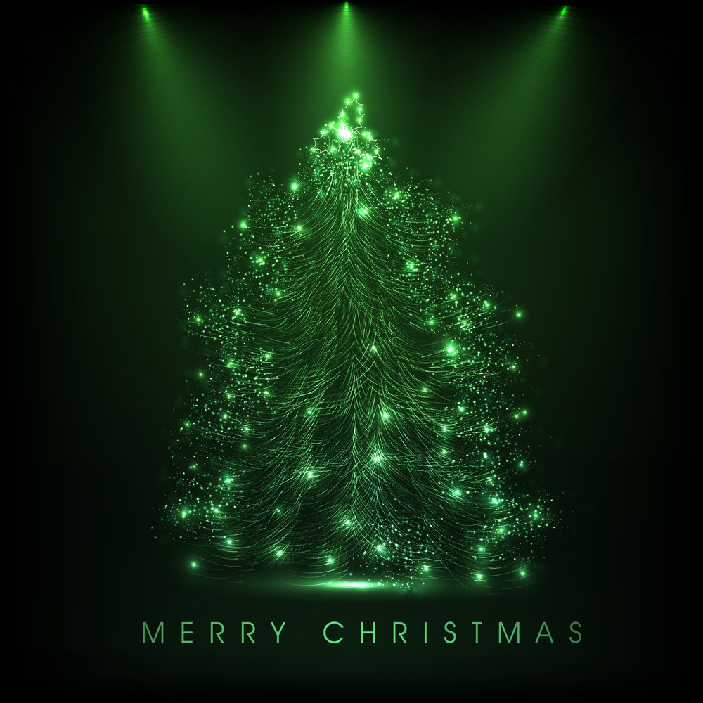 Merry Christmas celebration with shiny glossy green Xmas tree and stage light on green background.