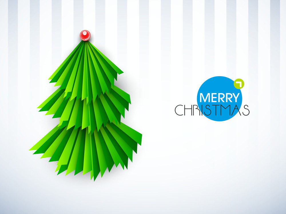 Green holly tree design with stylish text of Merry Christmas on linen background.