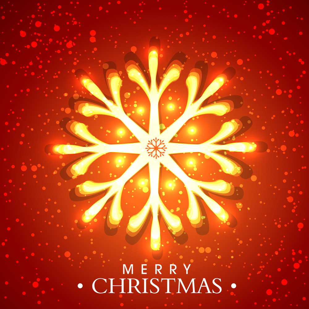 Shiny snowflake with text of Merry Christmas on bright stylish background.