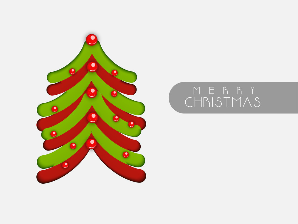 Merry Christmas celebration card with colorful Xmas tree and stylish text on white background.