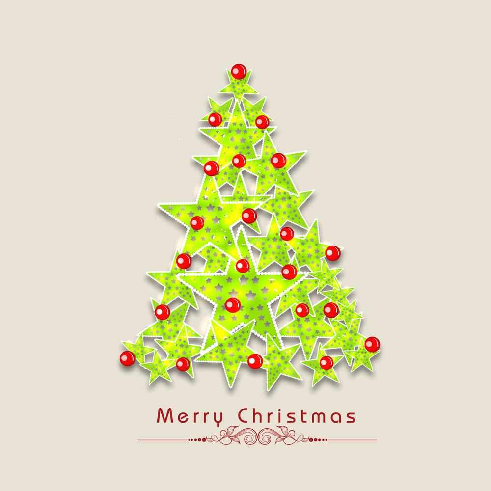 Stars decorated Xmas tree with stylish wishing text on beige background.