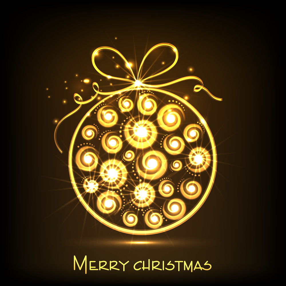 Merry Christmas celebration with shiny golden Xmas ball on brown background.