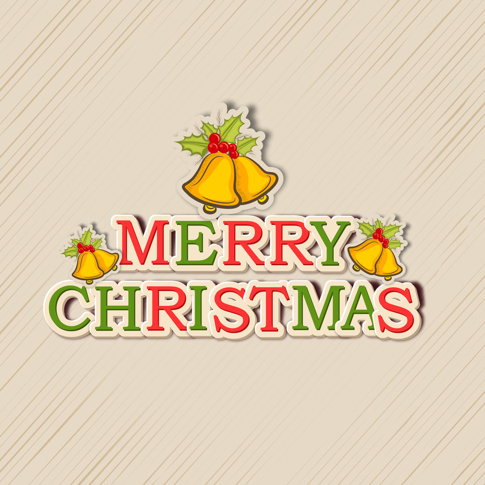 Colorful text of Merry Christmas with golden jingle bells on stylish background.
