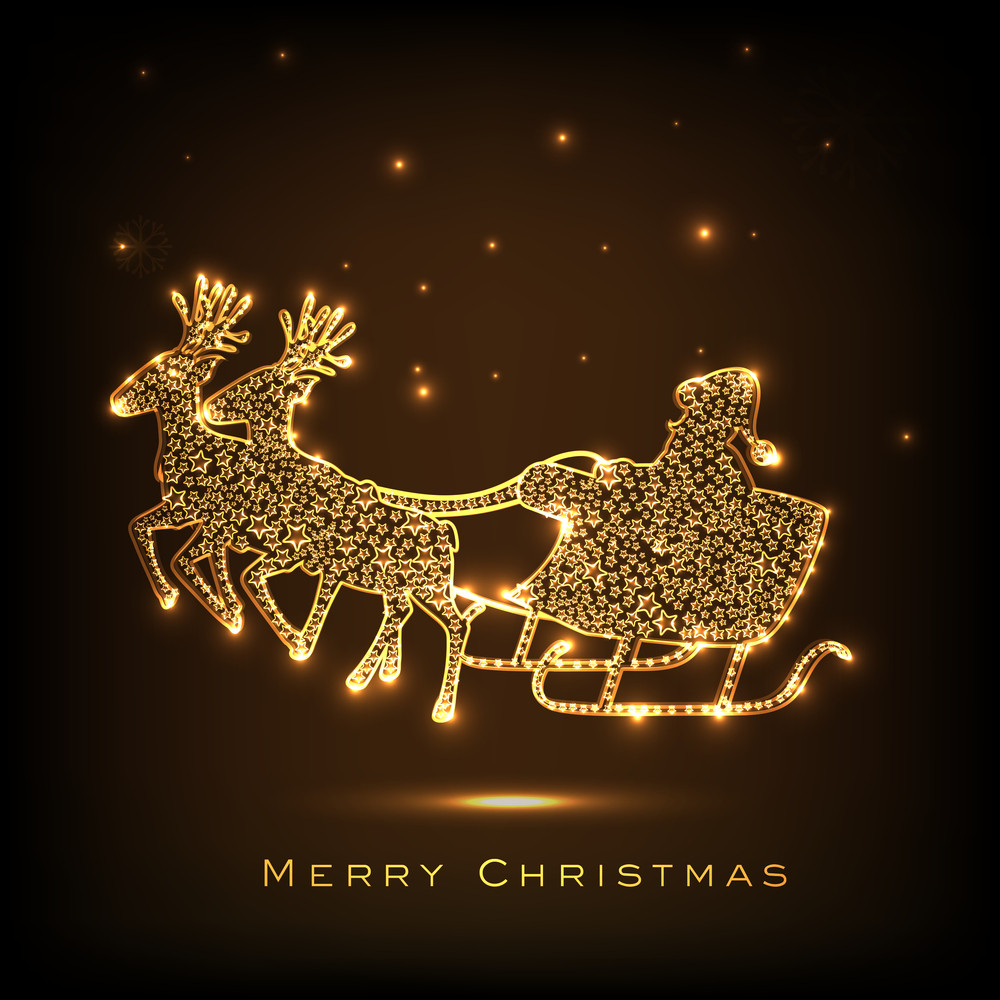 Shiny golden design of Santa Claus sleigh with stylish text of Merry Christmas on brown background.
