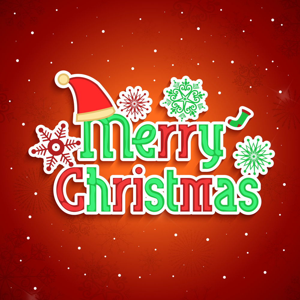 Stylish text of Merry Christmas with santa cap, and snowflakes on red background.