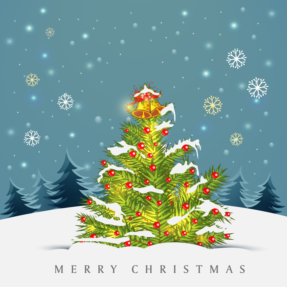 Merry Christmas celebration with decorated Xmas tree and stylish text on blue nature view background.